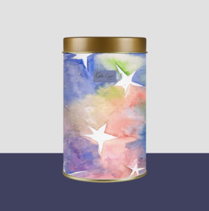 Watercolour with stars pattern hand painted design for a tin by Katie Carr Design