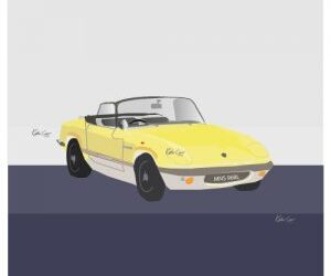 Lotus Elan illustration for greetings card